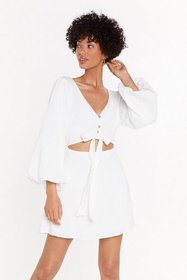 Nasty Gal Womens Ivory Cut It Out Cut-Out Mini Dre