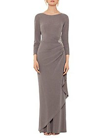 Xscape Embellished Gown TAUPE SILVER