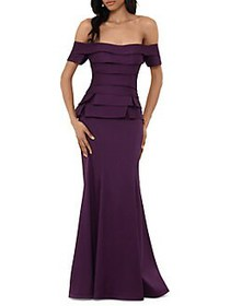Xscape Off-The-Shoulder Tiered Gown PLUM