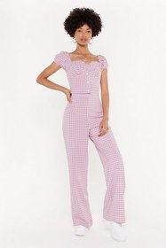 Nasty Gal Womens Rose Check This Out Wide-Leg Pant