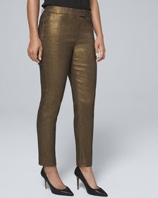 Curvy-Fit Metallic-Jacquard Slim Ankle Pants