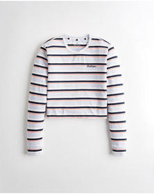 Hollister Crop Logo Graphic Tee, NAVY STRIPE