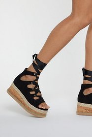 Nasty Gal Womens Black Ghillie Lace Up Cork Flatfo