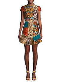 Alice + Olivia Rapunzel Patchwork Dress GOLD MULTI