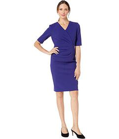 Tahari by ASL Short Sleeve Crepe Dress with Side P
