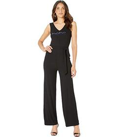 Bebe V-Neck Tank Logo Jumpsuit with Sash