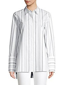 Lafayette 148 New York Porto Striped Blouse WHITE