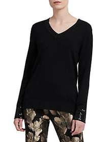 Donna Karan Long Sleeve Sequin Sweater BLACK