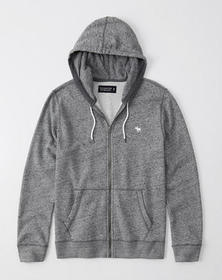 Soft A&F Lightweight Icon Hoodie, HEATHER GREY