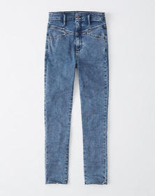 Ultra High Rise Ankle Jeans, MEDIUM MARBLED WASH
