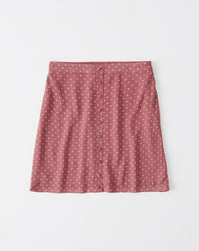 Button-Front Crepe Mini Skirt, PINK DOT