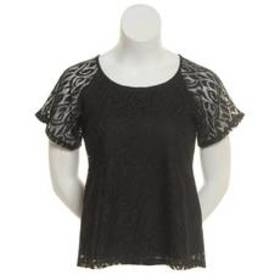 NY Collection Short Sleeve Dolman Round Neck Lace