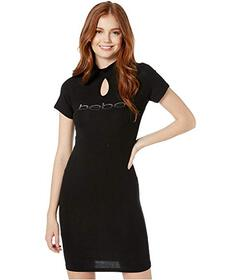 Bebe Short Sleeve Ombre Logo Dress with Keyhole Mo