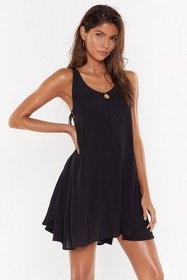 Nasty Gal Womens Black Side Eye Lace-Up Cover-Up D