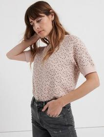 Lucky Brand Short Sleeve Pink Floral Pullover