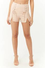 Forever21 Lace-Up Cropped Cami & Shorts Set