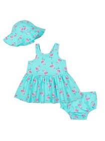 Sleeveless Dress with Diaper Cover & Sun Hat, 3pc