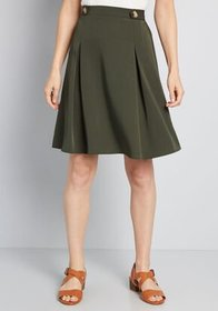 Great Expectations Buttoned A-Line Skirt Olive