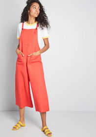 Linen Wishes Cropped Jumpsuit Red