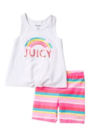 Juicy Couture Tank & Striped Shorts 2-Piece Set (L