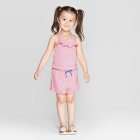 Toddler Girls' Striped Front Ruffle Romper - Cat &