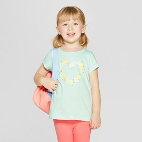 Toddler Girls' Short Sleeve 'Floral Heart' Graphic