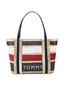 Tommy Hilfiger Striped Piper Tote Bag NAVY RED WHI