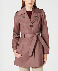 London Fog Hooded Double Collar Belted Raincoat, C