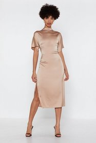 Nasty Gal Womens Champagne Satin Your Own Time Mid