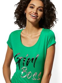 "Metallic-Foil ""Girl Boss"" Graphic Logo Tee - New Y"
