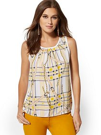 Plaid & Link-Print Knit & Woven Top - New York & C