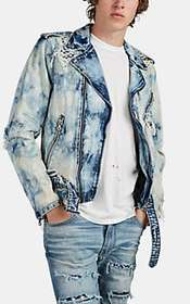 AMIRI Distressed Acid-Washed Denim Moto Jacket