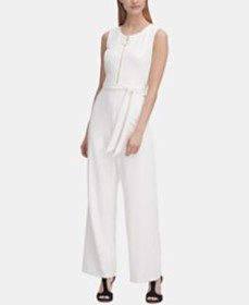 DKNY Logo Zipper Belted Jumpsuit