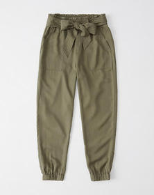 Belted Drapey Joggers, OLIVE GREEN