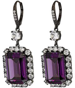Nina Haloed Emerald Cut CZ Drop Earrings