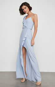 BCBG One Shoulder Draped Ruffle Gown