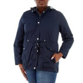 Plus Size Hooded Cinched Waist Snap Front Anorak