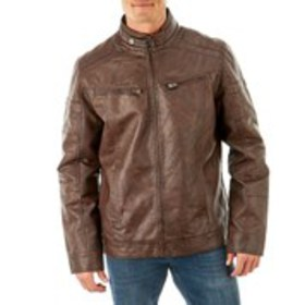 Mens Brown Faux Leather Moto Jacket
