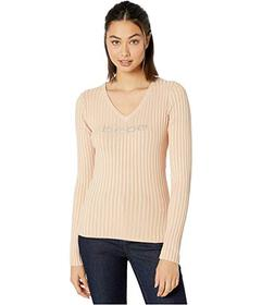 Bebe Rib Logo V-Neck Sweater
