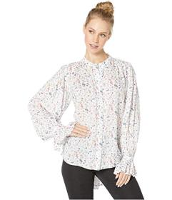 BCBGMAXAZRIA Floral Blouse with Shirred Sleeve Det