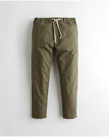 Hollister Linen-Blend Taper Pants, OLIVE
