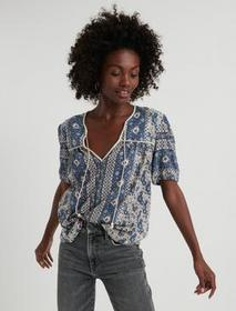 Lucky Brand Printed Short Sleeve Peasant Top