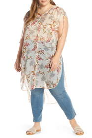 Vince Camuto Wildflower Print Long Tunic (Plus Siz