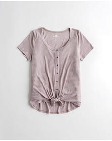 Hollister Button-Front Easy T-Shirt, PURPLE