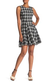 Tommy Hilfiger Grid Lace Sleeveless Fit & Flare Dr