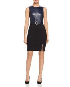 Elie Tahari - Isadora Mixed Media Belted Sheath Dr