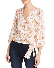 1.STATE - Three-Quarter Sleeve Floral Wrap Blouse