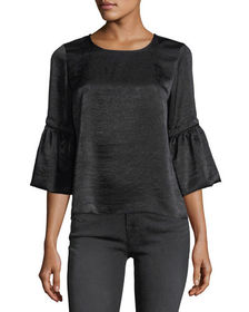 Waverly Grey Satin 3/4-Bell-Sleeve Top