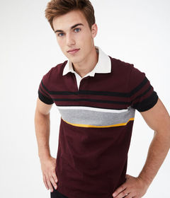 Aeropostale Multi-Stripe Rugby Jersey Polo