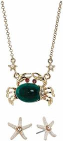 Betsey Johnson Crab Earrings and Necklace Set
